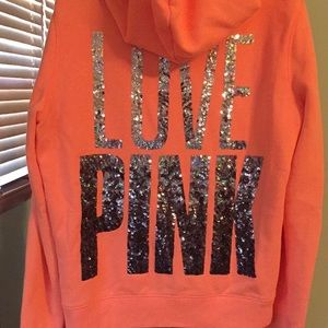 Victoria Secret PINK neon sequin hoodie